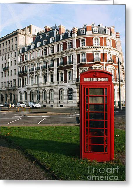 Terri Waters Greeting Cards - Titanic Hotel and Red Phone Box Greeting Card by Terri  Waters