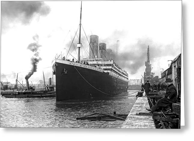 Passenger Ship Greeting Cards - TITANIC in SOUTHAMPTON HARBOR Greeting Card by Daniel Hagerman