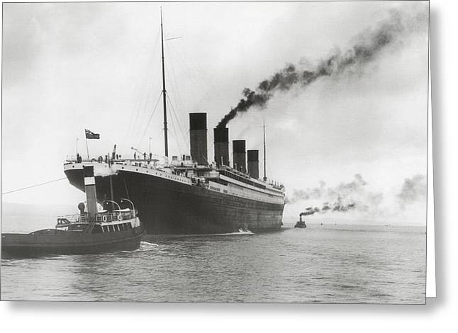 White Steamer Photos Greeting Cards - Titanic ready for her maiden voyage Greeting Card by English Photographer