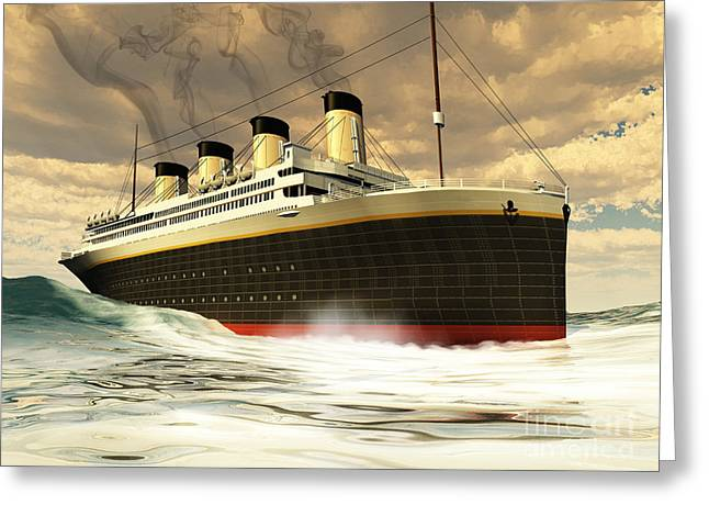 Boat Cruise Digital Greeting Cards - Titanic Ship Greeting Card by Corey Ford