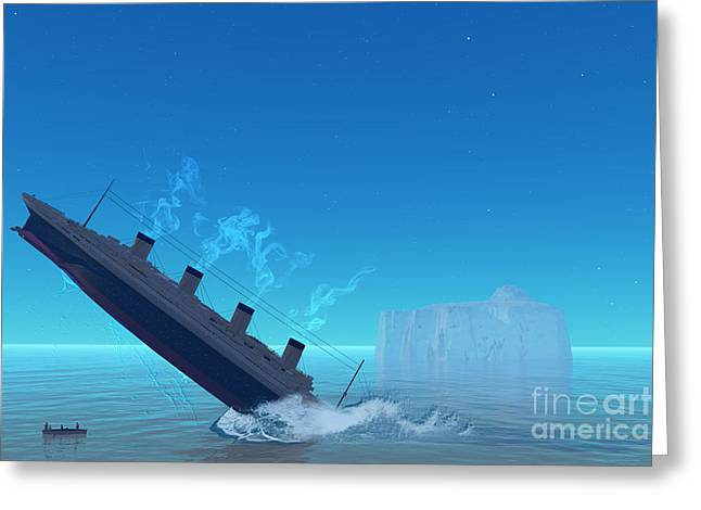 Seafarer Greeting Cards - Titanic Sinking Greeting Card by Corey Ford