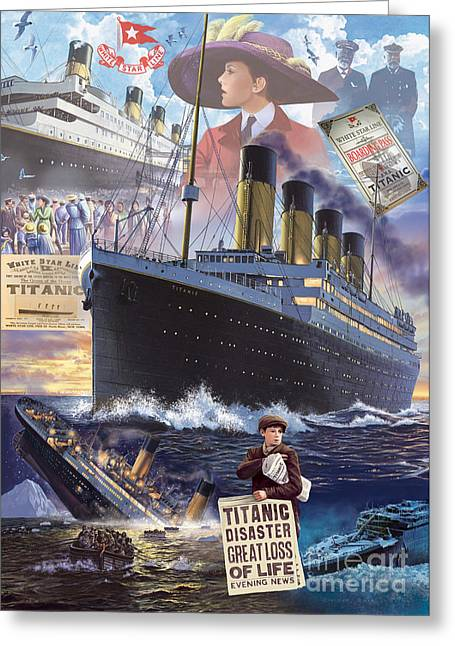 Nightmare Illustration Greeting Cards - Titanic Greeting Card by Steve Crisp