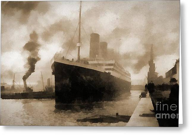 Queen Of The Sea Greeting Cards - Titanic the Ship of Dreams leaving Southampton Greeting Card by David Carton