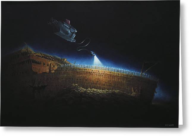 Steam Ship Greeting Cards - Titanic wreck save our souls Greeting Card by Martin Davey