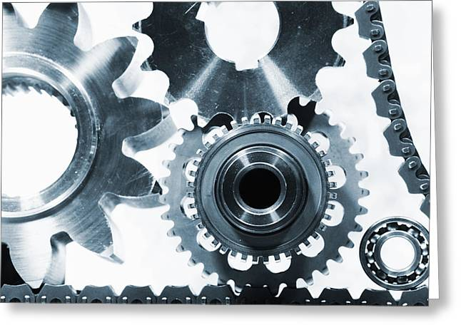 Gear Greeting Cards - Titanium Aerospace Parts In Blue Greeting Card by Christian Lagereek