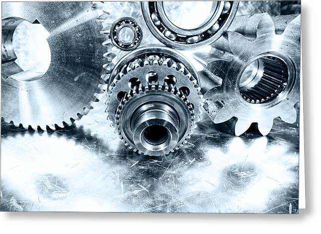 Pinion Greeting Cards - Titanium And Steel Cogwheels And Gears Engineering Greeting Card by Christian Lagereek