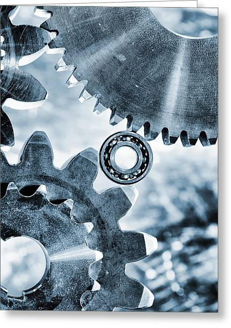 Stainless Steel Greeting Cards - Titanium And Steel Gears And Cogs Greeting Card by Christian Lagereek
