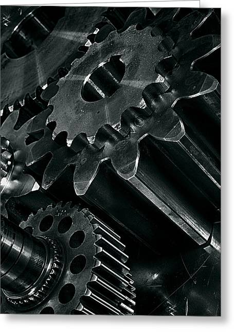 Stainless Steel Greeting Cards - Titanium And Steel Gears Greeting Card by Christian Lagereek