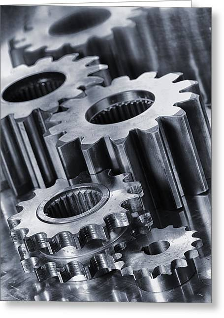 Stainless Steel Greeting Cards - Titanium Gears And Cogs Greeting Card by Christian Lagereek