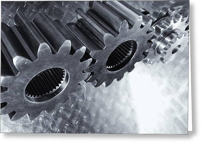 Stainless Steel Greeting Cards - Titaniumgears And Steel Background Greeting Card by Christian Lagereek