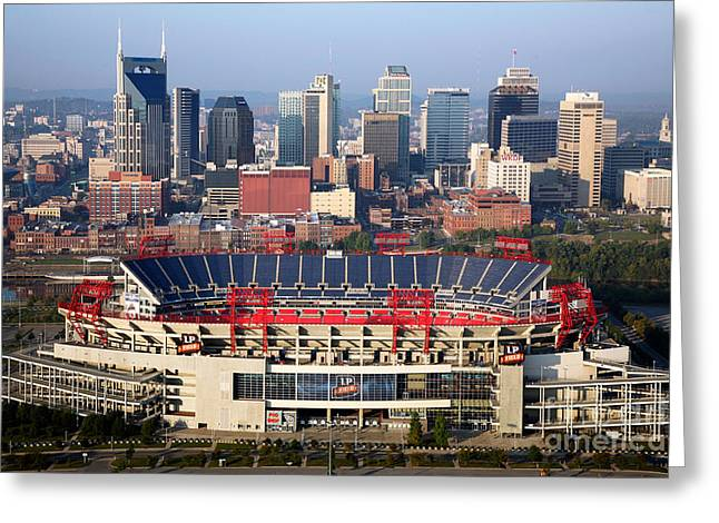 Recently Sold -  - Nashville Tennessee Greeting Cards - Titans Stadium and Nashville skyline Greeting Card by Bill Cobb