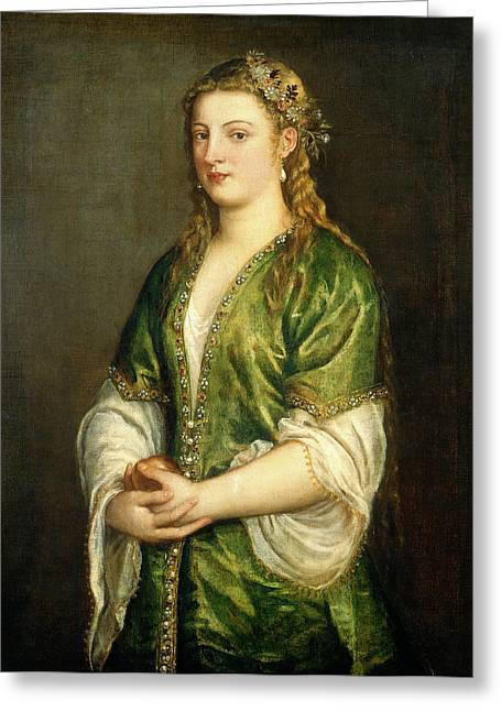 Titian Italian, C. 1490-1576, Portrait Of A Lady Greeting Card by Litz Collection
