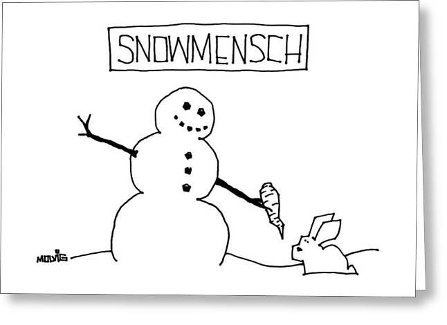 Title: Snowmensch Snowman Hands His Carrot Nose Greeting Card by Ariel Molvig
