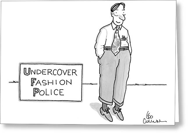 Title: Undercover Fashion Police. A Nerdy Looking Greeting Card by Leo Cullum