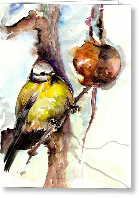 Gelb Greeting Cards - Titmouse Eating the Apple - Original Watercolor Greeting Card by Tiberiu Soos