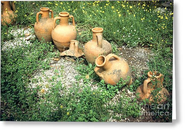 Broken Vase Greeting Cards - Titurtine House Amphorae Pompeii Greeting Card by Jan Faul