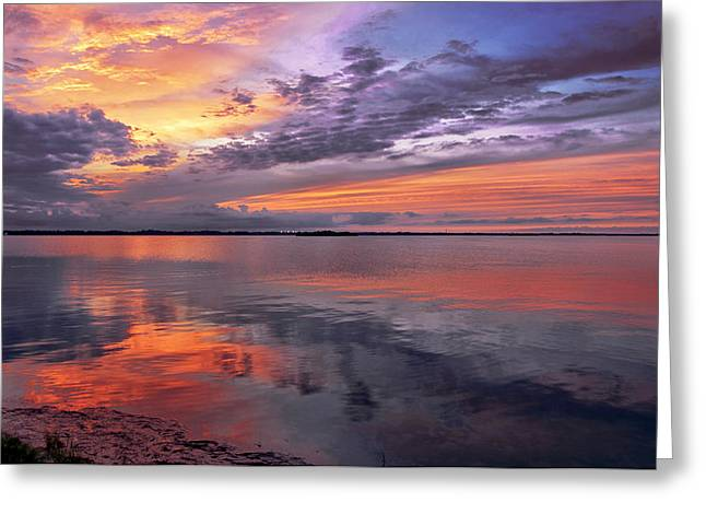 Tidal Photographs Greeting Cards - Titusville Sunset Greeting Card by Louise Hill