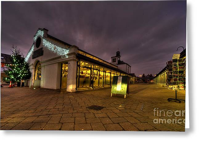 Pannier Greeting Cards - Tiverton Market by dusk Greeting Card by Rob Hawkins