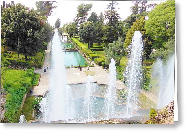 Villa Greeting Cards - Tivoli Fountains Greeting Card by Marilyn Dunlap