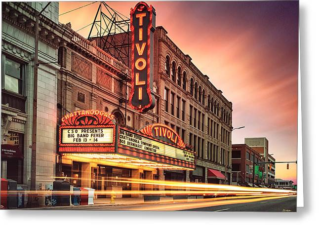 Theater Greeting Cards - Tivoli Theatre Valentines Day Sunset Greeting Card by Steven Llorca