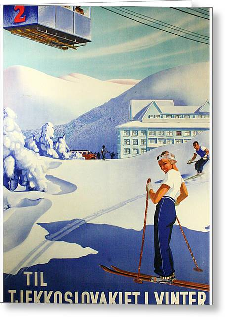 Skiing Posters Photographs Greeting Cards - Tjekkoslovakiet Greeting Card by Chris Smith