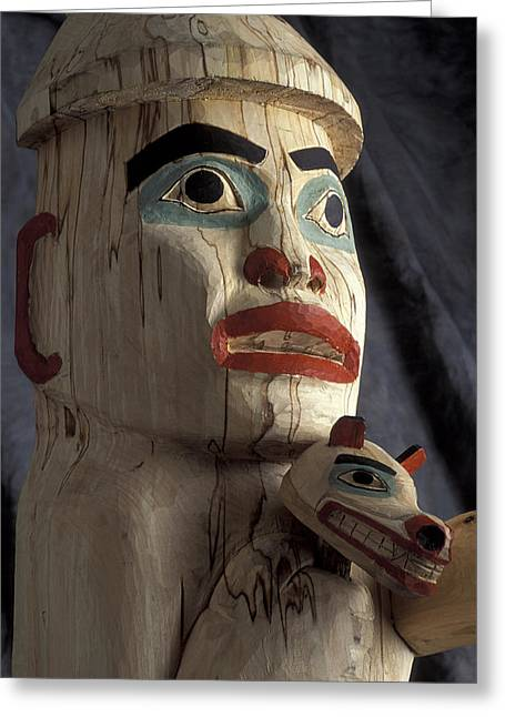 Tlingit Greeting Cards - Tlingit Indian *welcoming Totem* Close Greeting Card by Chris Arend