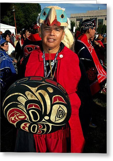 Northwestern Indian Greeting Cards - Tlingit Native American Greeting Card by Bill Marder