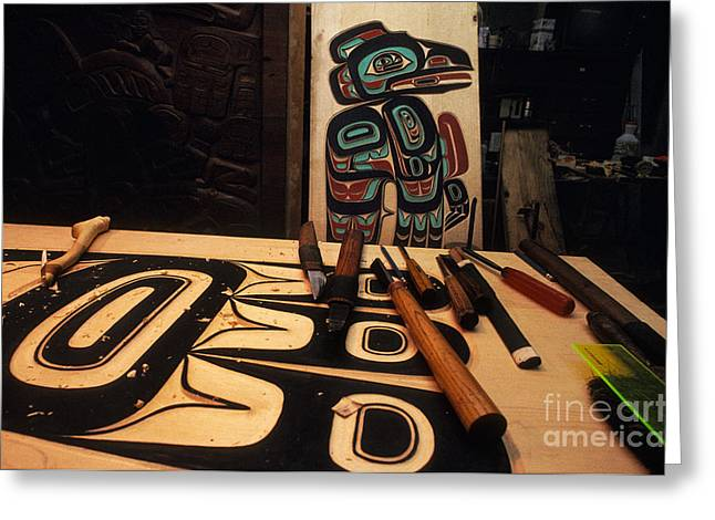 Wood Carving Greeting Cards - Tlingit Workshop Greeting Card by Ron Sanford
