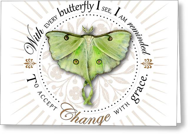 Luna Moth Greeting Cards - To accept change with grace Greeting Card by Amy Kirkpatrick