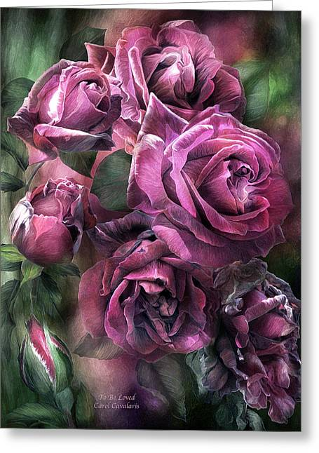 Pink Flower Prints Greeting Cards - To Be Loved - Mauve Rose Greeting Card by Carol Cavalaris