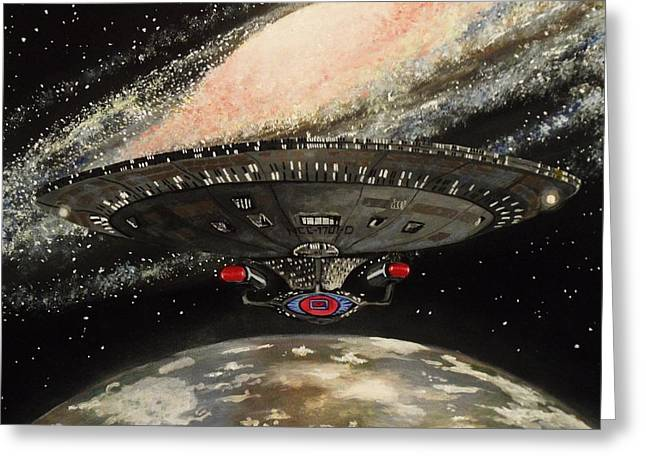 Startrek Greeting Cards - To Boldly Go... Greeting Card by Tim Loughner