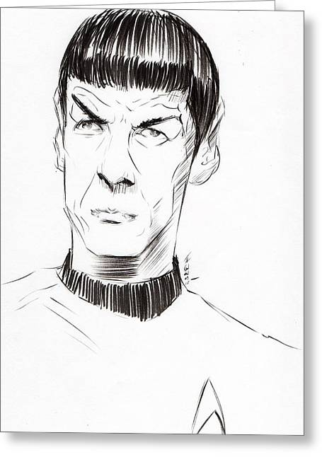 Enterprise Drawings Greeting Cards - To Boldly Go...... Greeting Card by Tu-Kwon Thomas