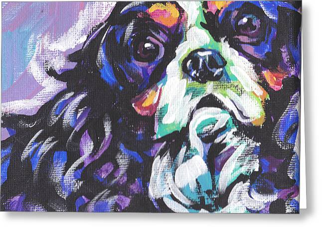 Cavaliers Paintings Greeting Cards - To Cav or Cav Not Greeting Card by Lea