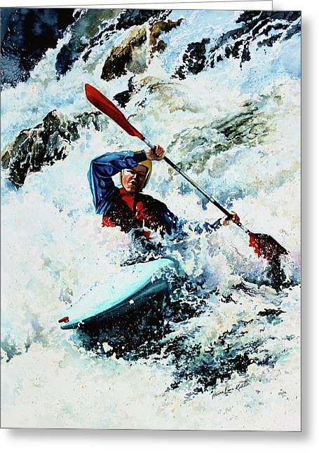 Canadian Sports Artist Greeting Cards - To Conquer White Water Greeting Card by Hanne Lore Koehler