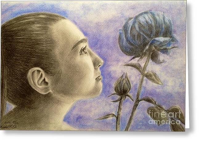 Teen Pastels Greeting Cards - To flower from bud Greeting Card by Keiko Olds