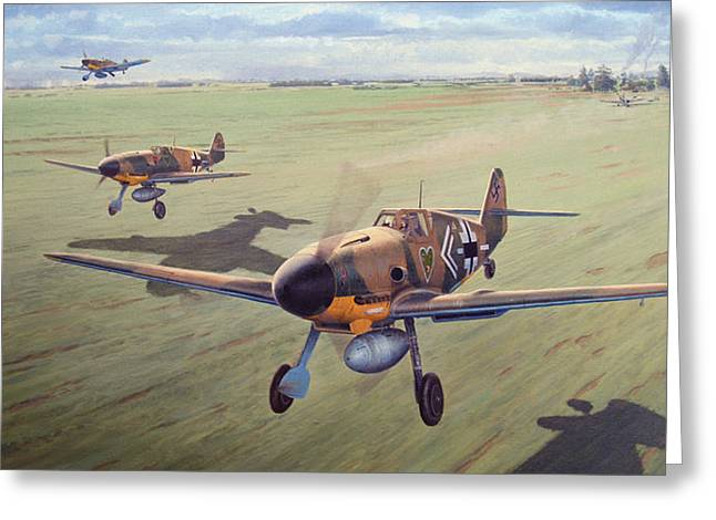 Military Airplanes Paintings Greeting Cards - To Lead by Example Greeting Card by Steven Heyen