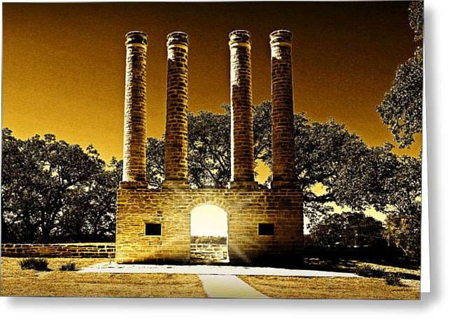 To Light The Ways Of Time -- The Columns At Old Baylor Park Greeting Card by Stephen Stookey