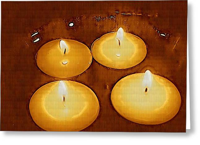 Candle Lit Greeting Cards - To Light up The Dark For Peace Greeting Card by Pepita Selles
