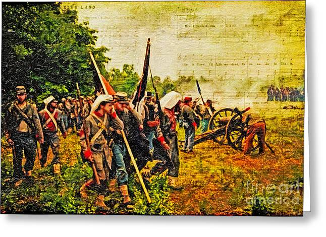 Re-enactment Greeting Cards - To Live and Die In Dixie Greeting Card by Lianne Schneider