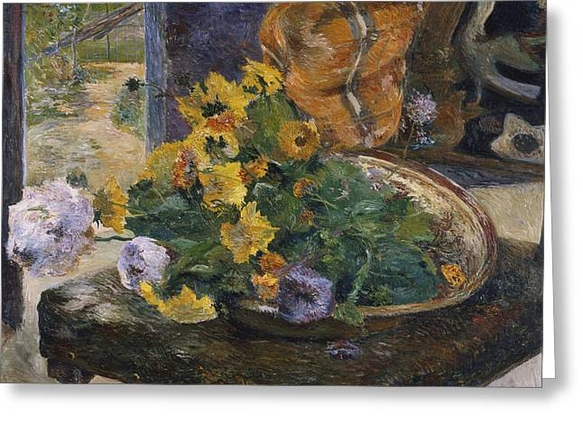 Post-impressionism Greeting Cards - To Make a Bouquet Greeting Card by Paul Gaugin