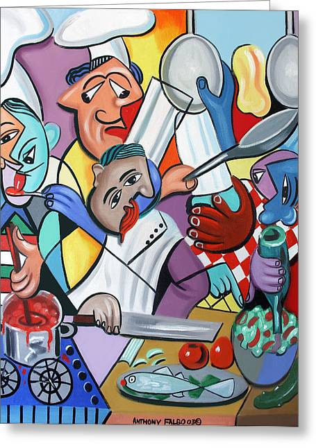 Famous Artist Greeting Cards - To Many Cooks In The Kitchen Greeting Card by Anthony Falbo