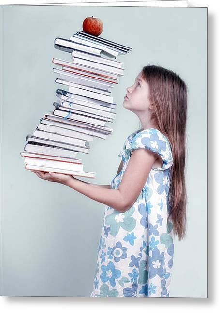 Stack Greeting Cards - To Many Schoolbooks Greeting Card by Joana Kruse
