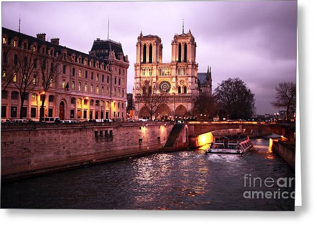 Paris At Night Greeting Cards - To Notre Dame Greeting Card by John Rizzuto