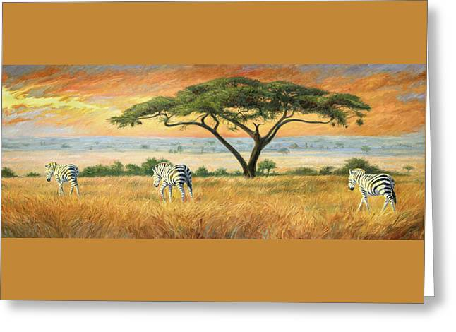 Zebras Greeting Cards - To Other Pastures Greeting Card by Lucie Bilodeau