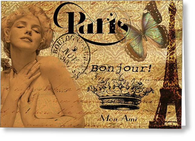 Norma Jean Greeting Cards - To Paris with Marilyn Greeting Card by Greg Sharpe