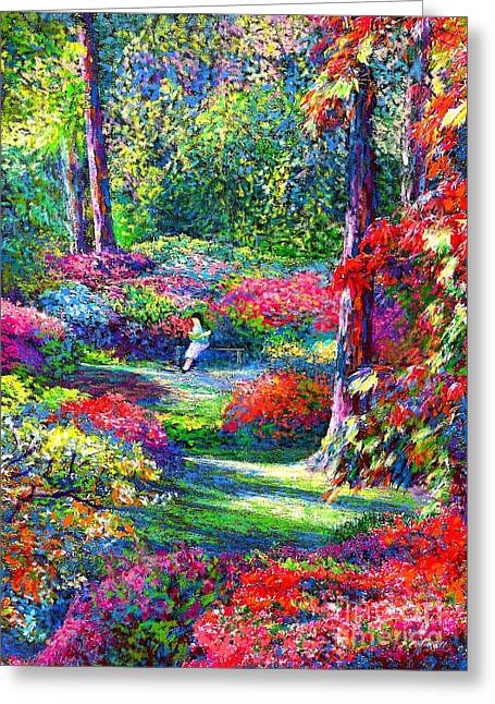 Rose Bushes Greeting Cards - To Read and Dream Greeting Card by Jane Small