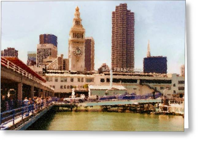 Sausalito Digital Greeting Cards - To San Francisco from Sausalito passing Alcatraz by Ferry_Painting Greeting Card by Asbjorn Lonvig