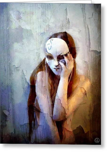 Painted Wood Greeting Cards - To show the body but hide the face Greeting Card by Gun Legler