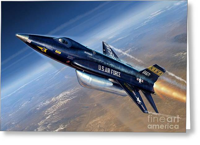 The North Digital Art Greeting Cards - To The Edge of Space - The X-15 Greeting Card by Stu Shepherd