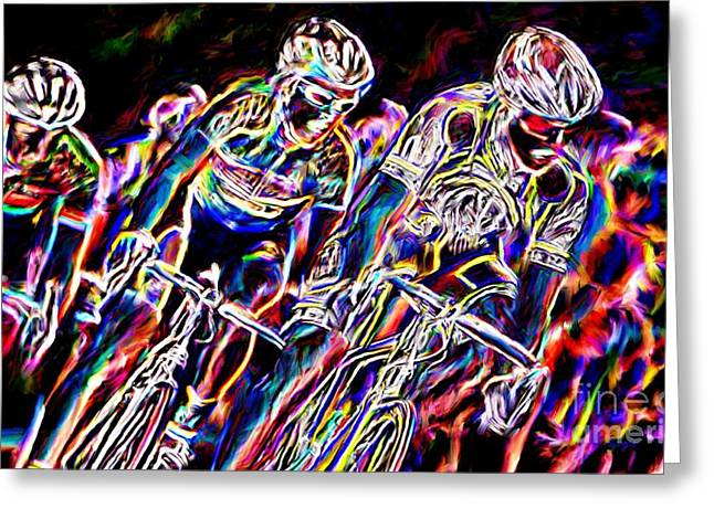 Abstract Movement Greeting Cards - To The Finish Line Greeting Card by Sergio B